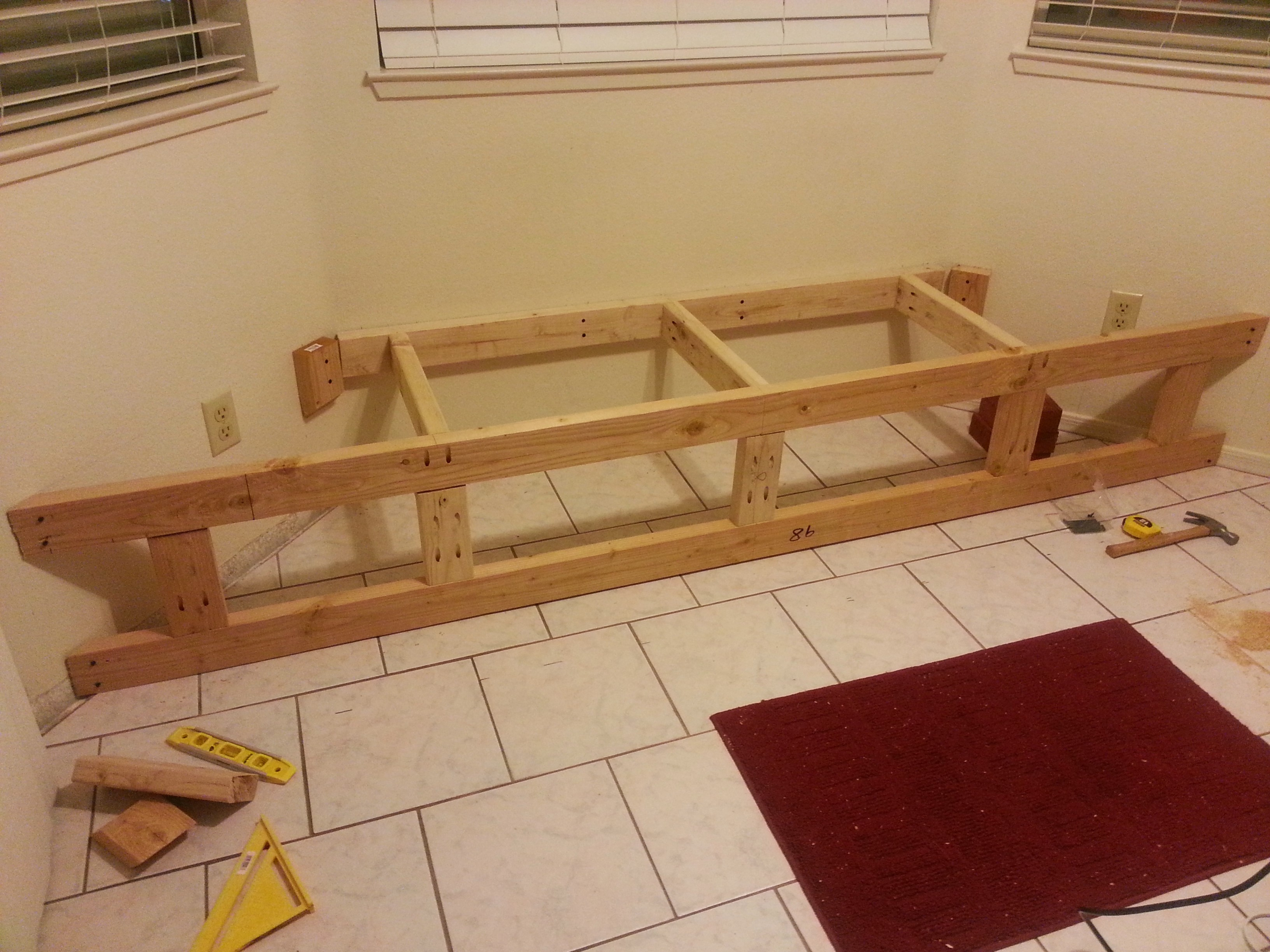 Let s nook reveal home that we built - Kitchen bench diy ...